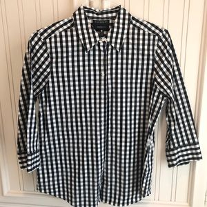 Foxcroft black&white gingham stretch blouse